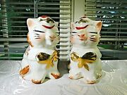 Regal Art Pottery Puss N Boots Kitty Cat Salt And Pepper Shakers 1940s