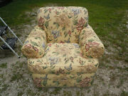 Sherrill Upholstered Lounge Arm Chair. Yellow Floral Pattern.