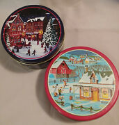 Winter Themed Decorative Tins - Lot Of 2