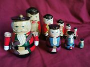 Vintage Nesting Wooden Dolls Soldiers Nutcrackers Four And Five Sets