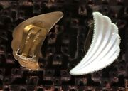 Vintage Elvik And Co Norway White And Cream Enameled Sterling 925 Clip Earrings
