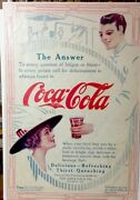 1912 Coca Cola Color Ad Lady Served A Glass Of Coke - Large Arrow Ad- 10 X 14