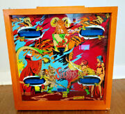 Vintage Gottlieb Pinball Machine Top With Glass Back Art 1978 Eye Of The Tiger