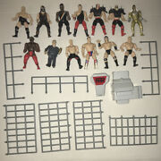 Lot Of 13 Vintage 90andrsquos Wwf Wwe Jakks Mini Figures And Ring/cage Parts Raw Is War
