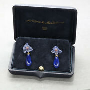 Mcteigue And Mcclelland Carved Tanzanite Lapis Ruby Drop Earrings In Plat And 18k