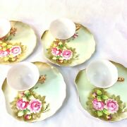 Lefton China Green Heritage Rose Set 4 Snack Plates Cups 2 Sets Available 3071