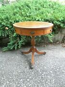 Mahogany Leather Top Drum Table, One Drawer.