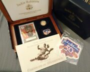 Jackie Robinson Brooklyn Dodgers 50th Anniversary 9999 Fine Gold Round Coin Box