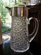 Goldsmiths And Silversmiths Co.sterling Silver And Glass Pitcher W Ice Tube C.1911