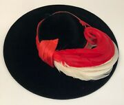 Vintage Rare 1930s Wide Brim W Red And White Feathers And Hat Pin- Best And Co