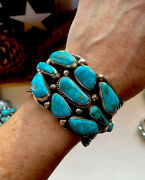 Navajo Guy Hoskie Natural Kingman Turquoise Sterling Cluster Cuff Signed