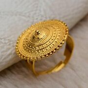 Geometric Shape Ethiopian Gold Color Round Coin Rings For Women Wedding Gifts