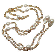 50 Cultured White Keshi Pearl Rectanle Cz Pave Chain Necklace Long Necklace