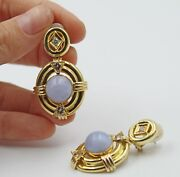 Estate Blue Lace Agate And Diamond 14k Yellow Gold Drop Pierced Earrings