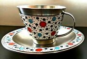 Pair Coffee Tea Cup And Saucer Enamel Soviet Sterling Silver 916 Ussr
