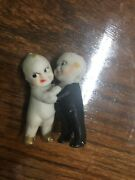 Kewpie Frozen Charlotte Doll Boy And Girl Embrassed In A Hug Black Paint On Boy