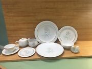 Easterling Spencerian Rose 6 Place Settings Sugar And Creamer Bavaria Germany 44