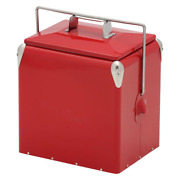 Amerihome Picnic Cooler Old Fashioned Locking Handles W Lid Durable Metal 12 Qt.
