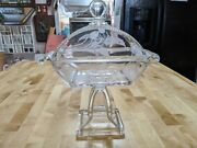 Incredible Rare Antique Cut And Pressed Glass Covered Candy Dish