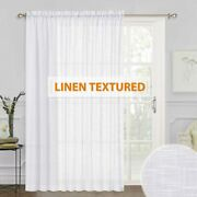Ryb Home White Sheer Curtains - Linen Sheer Curtain Large Window Privacy Semi Sh