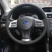 Anti Slip Black Leather Hand Sewing Steering Wheel Cover For Subaru Forester