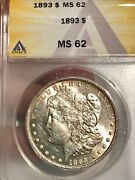 1893 Morgan Silver 1 Dollar Ms62 Anacs Certified 994