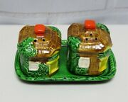 3 Pc Occupied Japan Salt And Pepper Shaker Set Village Hut House W/tray