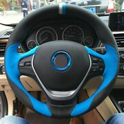 Black Leather Blue Leather Car Steering Wheel Cover For Bmw F30 320i 328i 320d