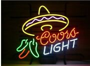 Coors Light Cayenne Cushaw Mexican Food Pepper Hat Neon Lamp Sign 17x14 Light