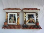 Palissy Portuguese, Majolica Antique, Pair Of Wall Planters.