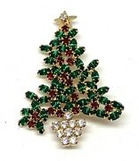 Eisenberg Ice Red And Green Christmas Tree Pin And Earrings Set Signed 15