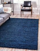 Unique Loom Solo Solid Shag Collection Modern Plush Navy Blue Area Rug 5' 0 X 8