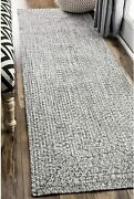 Nuloom Lefebvre Braided Indoor/outdoor Runner Rug 2and039 6 X 12and039 Light Grey