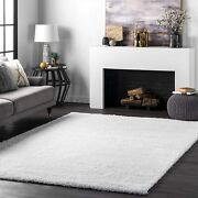 Nuloom Soft And Plush Cloudy Shag Rug 5and039 3 X 7and039 6 Snow White