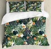 Ambesonne Hawaii Duvet Cover Set, Colorful Palm Trees Tropical Plants With Botan