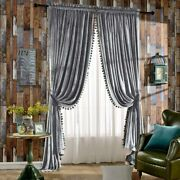 Melodieux Luxury Pom Poms Velvet Blackout Lined Curtains Thermal Insulated Rod P