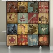 Laural Home Lodge Patch Shower Curtain, 71 X 74, Brown