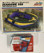 Vintage 2000 Intex Seahawk 200 2-person Inflatable Boat And Coleman Pump New
