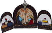 Vintage Stained Glass Nativity Scene By J.c.penney - 3 Sections To The Set