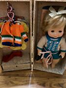 Vintage Pink Metal Doll Trunk Brown Bears Decal With Doll And Clothes