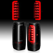 For 89-97 Ford F150 F250 F350 Red C-shape Led Black Smoke Taillights Brake Lamp