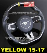 D-type Carbon Smooth Leather Yellow Stitch Steering Wheel For Ford Mustang 15-17