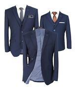 Designer Menand039s And Boys Jefferson Matching Slim Fit Navy Blue Skinny Business Suit