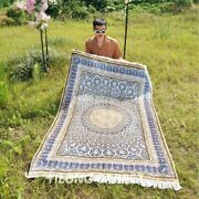 Yilong 4and039x6and039 Blue Hand Knotted Silk Area Rugs Dome Pattern Handmade Carpet T124