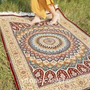 Yilong 4and039x6and039 Dome Pattern Hand Knotted Silk Area Rug Floral Handmade Carpet 0698