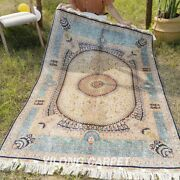 Yilong 4and039x6and039 Blue Dome Design Silk Rugs House Handmade Carpets Hand Knotted Z363