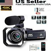 Camcorder Video Camera Ultra Hd 4k 48mp Camcorder Camera With Microphone And Remot