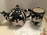 Burton And Burton Chester The Cat Teapot W/ Matching Cup