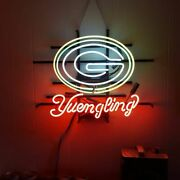 Green Bay Packers Yuengling Neon Lamp Sign 20x16 Bar Light Beer Glass Display