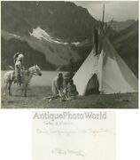 Canada Indian Chief Mountains Tipi Horse Antique Photo